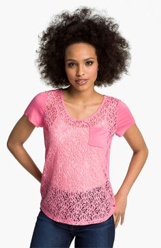 Hinge® Lace & Knit Tee available at #Nordstrom
