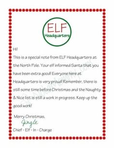 Letter from your Elf on the Shelf {Free Printable} by Renee Cahue More