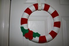 candy cane and holly wreath $30