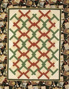 Linked chevron log cabin pattern. I'm not crazy about the colors here, but I love this pattern.