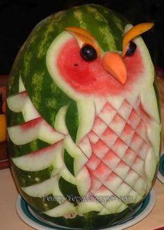 Funny Town: Incredible Watermelon Creations food sculpture, fruit carvings, birthday parties, watermelon art, summer parties, watermelon carving, owl, fruit art, food art