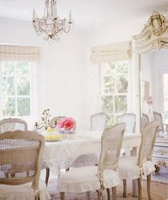 Beautiful romantic white dining room