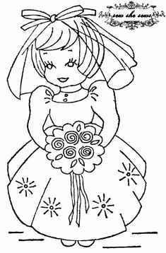 vintage bride embroidery pattern