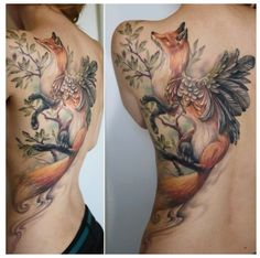 Back Piece tattoo. Artist: Rom Azovsky  Fox / foxtattoo / angel / wings / nature / fly away