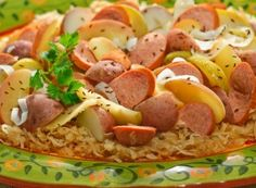 German dinner in the crockpot with apples, potatoes, kraut & keilbasa! (you can use apple juice instead of beer) | thecookingmom.com