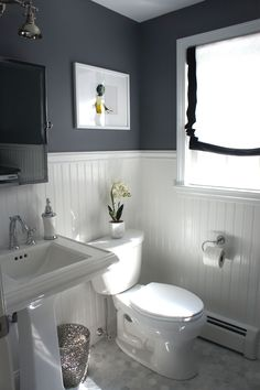 Grey and white bathroom