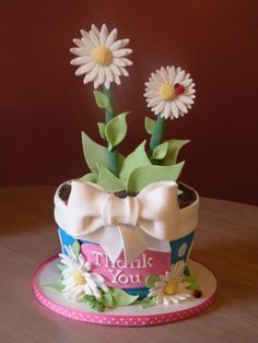 Don't just send thank you flowers - how about a thank you flower cake!