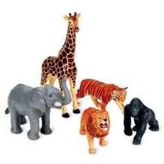 Jumbo Jungle Animals – These well-detailed Jumbo-sized Animals serve a wonderful duo purpose as both decorative pieces as well as baby shower safari favors.