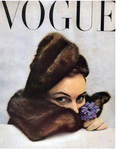 Model in hat by Legroux Soeurs, Paris Vogue. Cover by Richard Rutledge, November 1949