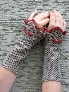 crocheted open work lacy wrist warmers