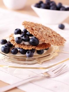 Blueberries with Oat Crisps and Crème Fraîche » US Highbush Blueberry Council #littlechanges