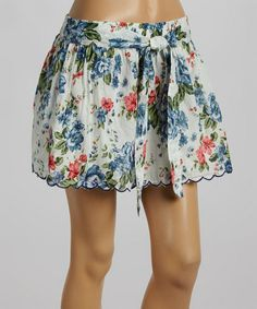 White Floral Scalloped A-Line Skirt