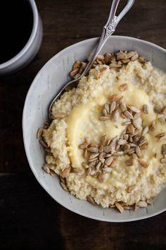 Millet Porridge with Lemon Curd and Sunflower Seeds via Naturally Ella