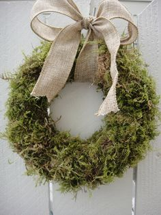 Moss Wreath With Burlap Bow   Wedding Wreath   Rustic Wreath   Easter Wreath  Spring and Summer. $25.00, via Etsy.