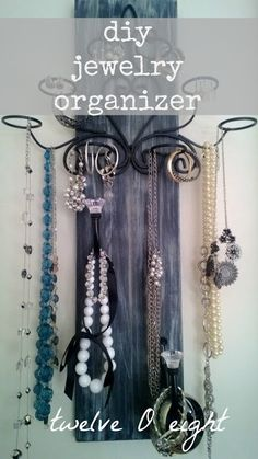 How To Make A Thrifty Jewelry Organizer-twelveOeight- #jewelry organizer #diy organizer #how to organize jewelry #thrifty organizing