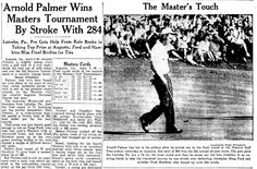 "A newspaper article about Arnold Palmer winning the Masters Tournament, published in the Springfield Union (Springfield, Massachusetts), 7 April 1958. Read more on the GenealogyBank blog: ""Organization & Preservation Tips for Genealogy Spring Cleaning."" http://blog.genealogybank.com/organization-preservation-tips-for-genealogy-spring-cleaning.html"