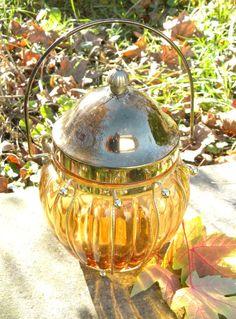 Vintage Amber Glass Metal Lid Biscuit Jar by MMVintageRecreations, $10.95
