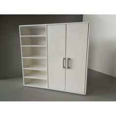 Modern Dollhouse Furniture | M112 PODS | Dakota Wardrobe Unit with 2 Doors and Shelving in White by Paris Renfroe Design