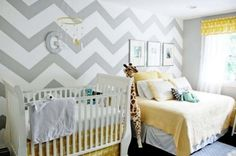 Check out our hip yellow baby room. Get more decorating ideas at http://www.CreativeBabyBedding.com