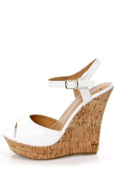 My Delicious Life White Patent Platform Wedge Sandals - $25.00