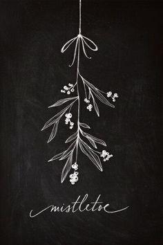Christmas chalkboard art.  Mistletoe art.