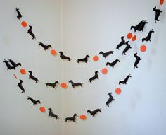 Halloweenie Garland with Dachshunds and Pumpkins by HookedonArtsNCrafts on Etsy