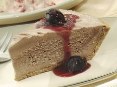 Frozen Chocolate Pie with Cherry Sauce