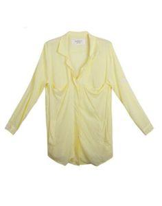 Solid Lapel Long Chiffon Shirt Yellow
