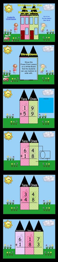 Welcome to the Regrouping Neighborhood! Addition With Regrouping (Power Point)   This is a huge Power Point lesson designed to teach the new First Grade Common Core Standard: Understand that in adding two-digit numbers, one adds tens and tens, ones and ones; and sometimes it is necessary to compose a ten.  $