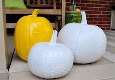 Puffy Paint + Pumpkins = Fancy looking pumpkins! I love them! Put on puffy paint design, dry, spray paint one color.