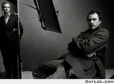 Great pic; Heath Ledger and Christophe Nolan.