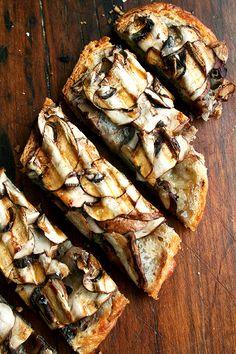 mushroom tartine with olive oil and sea salt