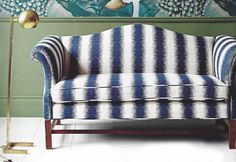 amazing camel back sofa re-do with Zia Birch fabric from our store by the fine folks at @houseandhomemagazine