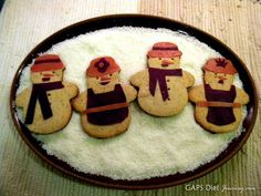 Grain-free Egg-Free Dairy-Free Snowman Cookie Cutter Cookies by GAPS Diet Journey.