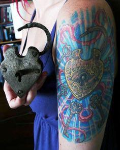 Real Padlock Lock Key Tattoo
