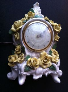 Antique porcelain clock.  Ornate with yellow roses. #clock #ebay