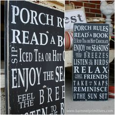 Porch Rules Vintage Style Typography Word Art Sign. $95.00, via Etsy.