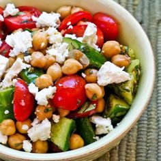 Cucumber and Tomato Salad with Marinated Garbanzo Beans, Feta, and Herbs; one of my favorite salads for summer tomatoes! [from KalynsKitchen.com] #GlutenFree #SouthBeachDiet #TomatoSalad