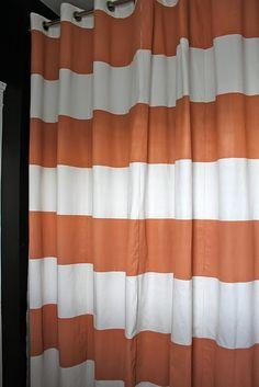 DIY striped shower curtain. LOVE!
