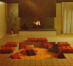 Sunken living room!  Detail from an ad for Mosaic Tile Company 1966.