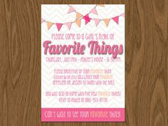 Favorite Things Party Invite (5x7 Print yourself) or Girlie Birthday Invite Pink and Peach