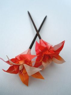 Origami Flower Hair Stick Pink and Orange by prettyneko on Etsy, $12.00