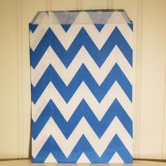 Party Favor Bags Blue Chevron Stripe (pack of 24) - Party Supplies and wholesale manufacturer of printed paper straws, Favor Bags and other modern trendy paper party goods