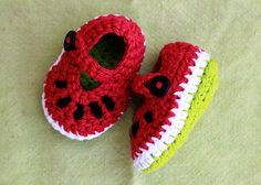 Crochet Watermelon Booties - free pattern on Raverly