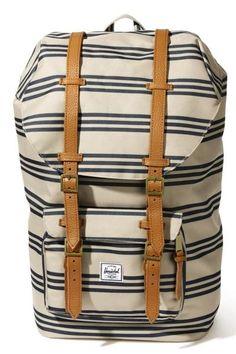 striped backpack.