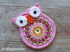 Owl crochet applique by ATERGcrochet