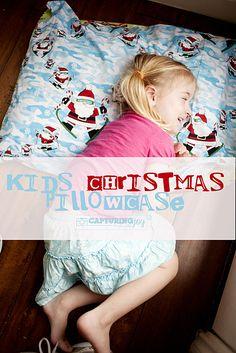 Kids Christmas Pillowcase Tradition - create a special Christmas pillowcase used during the Christmas season then stored away again until next year   KristenDuke.com