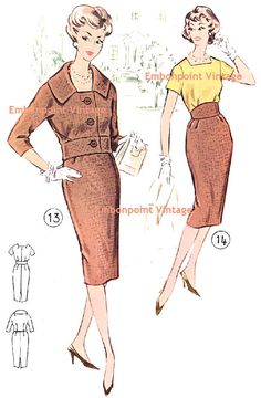 Vintage 1950s Womens Suit Pattern - Pattern No 13/14: Sharon