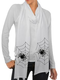 Stay warm and spooky with this spider scarf. fashion, halloween fun, dresses, dress up, spider, halloween outfits, halloween treat, beauty, scarv
