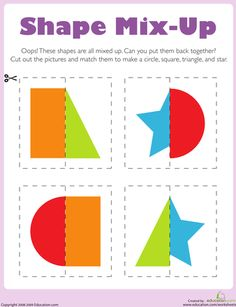Kids cut out shapes to put these silly, mixed-up pictures back together. After your child puts the cut out shapes together, have her name and describe each shape. Kids completing this worksheet exercise thinking and fine motor  - repinned by @PediaStaff – Please Visit  ht.ly/63sNt for all our ped therapy, school & special ed pins